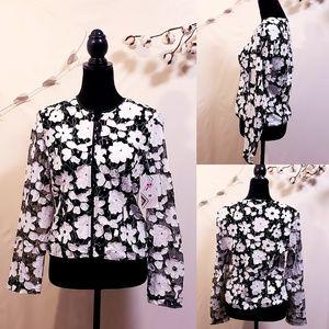 Sheer Mesh Floral Applique Zip Jacket size M🦄💋